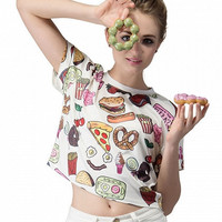 White Yummy Food Printed Crop Top