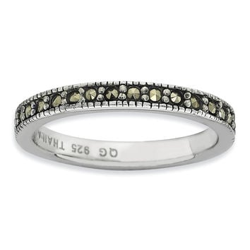Sterling Silver Stackable Expressions Marcasite Band