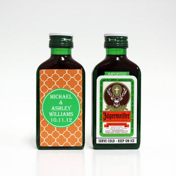 100 Custom Jägermeister Jager Liqueur Mini Bottle Labels Wedding Favors Thank You Bride Groom Bachelorette Bachelor Party Groomsmen Gifts