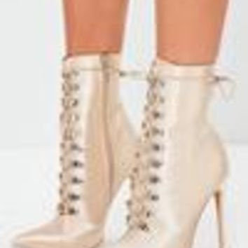 Missguided - Peace + Love Nude Lace Up Stiletto Boots