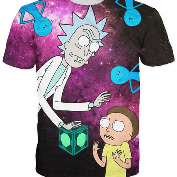 Unisex  Cartoon Character Rick and Morty T-Shirt intergalactic space galaxy