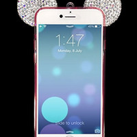 """Iphone 6s Cases, Crosspace® Flexible Mickey 3D Bling Crystal Ears TPU Bumper with Sling Shell - Bear/ Mouse/ Diamond Ear Design Soft Cover for Apple Iphone 6/6s 4.7"""" (Pink/White)"""