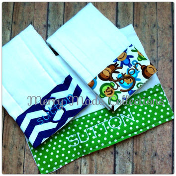 Custom made to order - Personalized Burp Cloths, set of 3