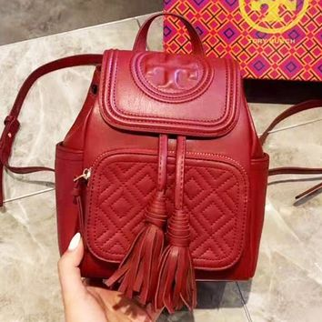 Tory Burch stylish solid color casual diamond lattice clamshell backpack
