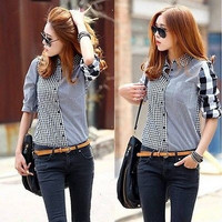 Women Lady Retro vintage Long Sleeve Casual Graids Jean Denim Shirt Tops Blouse = 1929950532