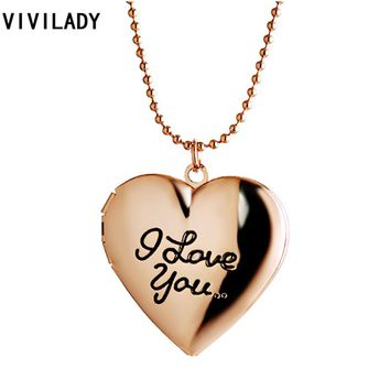 VIVILADY Christmas Promotion Trendy Jewelry Love Heart Pendant Picture Photo Frame Lockets Necklaces Women Bijoux Accessory Gift
