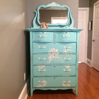 Antique Dresser, Shabby Chic, Distressed, Chalk Painted, Waxed,Rustic, Barn, Bedroom Furniture, Turquoise, White, Flowers, Stencil, Painted