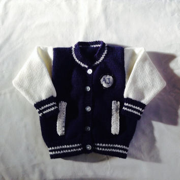 Baby Sweater Cardigan Sport Letterman Varsity Navy and White Personalize the Badge Hand Knitted Up to 5 Years