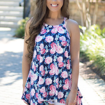 Blissful Blue Floral Tank