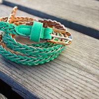 Skinny Braided Belt {Mint}