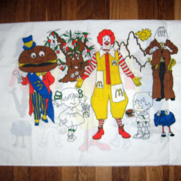 Rare 1976 MCDONALD'S Pillowcase Ronald McDonald McDonaldland Characters Adverstising Collectible Grimace Captain Crook More