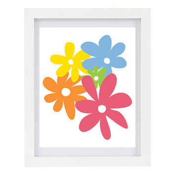 Summer Flowers, Floral Print, Flowers Art Print, Bright, Colourful, Home Decor, Rainbow, 8 x 10 Illustrated Print, Floral Artwork