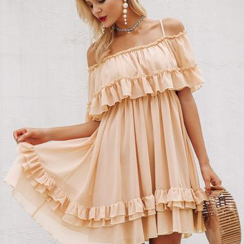Simplee Cold Shoulder Layered Ruffle Dress