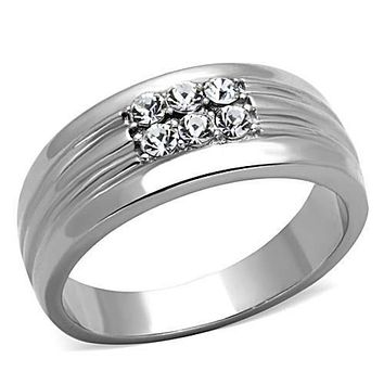 WildKlass Stainless Steel Ring Wedding High Polished (no Plating) Men Top Grade Crystal Clear