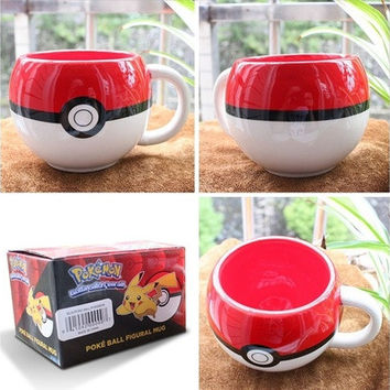 For Pokemon 3D Figural Ceramic Mug Coffee Cup W/ Box Xmas Gifts For Fans Boy (Color: Red & White) [8270346625]