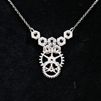 Gear and hex nut necklace, Women's steampunk jewelry, Chainmaille necklace, stainless steel, industrial fashion, neo Victorian