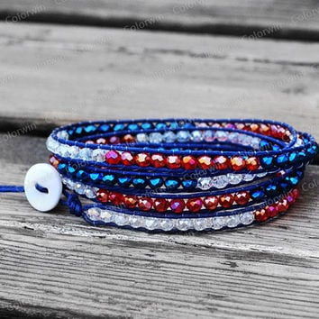 4 Wrap Leather Bracelet American Flag Design Wrap Bracelet Crystal Bracelet Leather Wrap Bracelet 4mm Beaded Bracelet