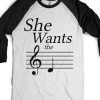 She Wants the D (Baseball)-Unisex White/Black T-Shirt