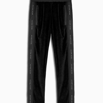 velour snap track pant / black