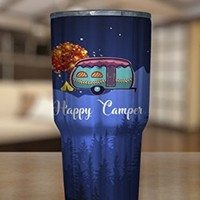 Happy Camper Tumbler 30 oz Stainless Steel, Outdoor Activity Travel Mug (Tumbler - Full Print)