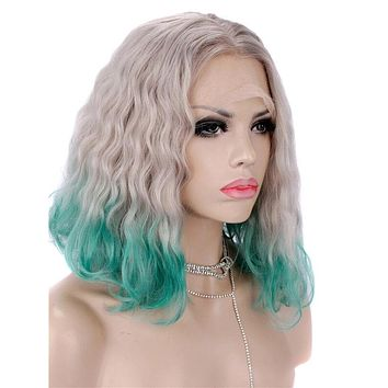 Short Gray To Green Bob Ombre Wave Synthetic Lace Front Wig