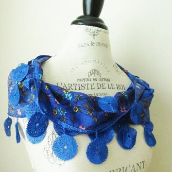 Ship from USA Electric Blue Organic Cotton Floral by SistersLace