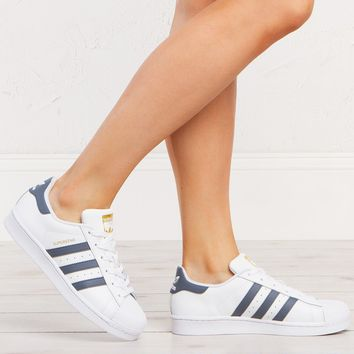 adidas Superstar Sneakers in White Onix Gold