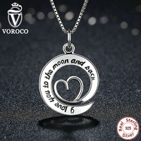 Collares Popular 925 Sterling Silver I Love You To The Moon & Back Letter Women Necklaces & Pendants Jewelry N016