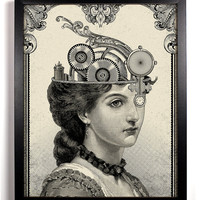The Steampunk Queen Giclee Art Print 8 x 10 Buy 2 Get 1 FREE steam punk steampunk science fiction gears cogs post-apocalyptic