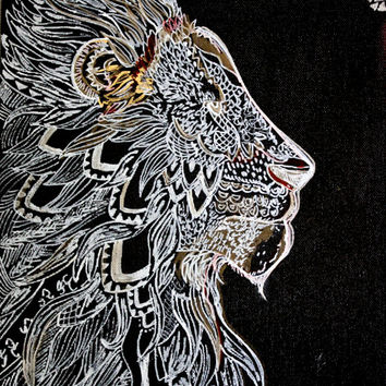 Beautiful Detailed Tribal Lion Hand Drawn Wall Hanging/Illlustration