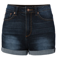 LE3NO Womens High Waisted Sailor Nautical Denim Jean Shorts (CLEARANCE)