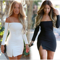 New Fashion Women Sexy Bodycon Dress Solid Long Sleeve Slash Neck Strapless Bandage Pencil Mini Dress S~XL = 5617113025