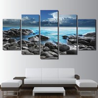 5 Piece Canvas Art Seaside Seascape Print Wave Wall Picture