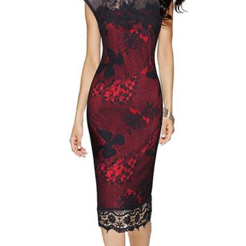 Lace Embroidery Vintage 50s Sheath Pencil Dress