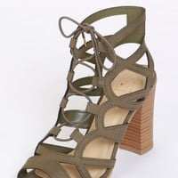 Eat Your Heart Out Lace Up Heel Olive