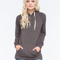 Full Tilt Essential Womens Tunic Pullover Charcoal  In Sizes