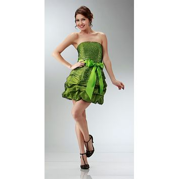 CLEARANCE LIMITED STOCK - Short Strapless Lime Green Prom Cocktail Dress Ribbon Bow Bubble Hem Ruched Glitter
