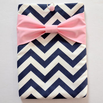 "Macbook Pro 15 Sleeve MAC Macbook 15"" inch Laptop Computer Case Cover Navy & White Chevron with Pink Bow"
