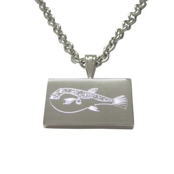 Silver Toned Etched Puffer Fish Pendant Necklace
