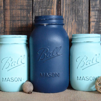 Shabby Chic Painted Mason Jars - Set of 3 - Quart and Pint Size - Navy Blue - Light Blue - Centerpiece - Vase