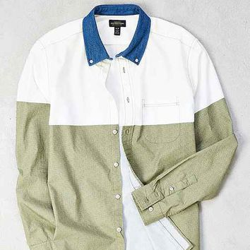 CPO Colorblock Contrast Collar Long-Sleeve Button-Down Shirt