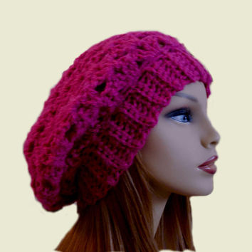 Slouchy Beanie Hat Dark Pink Beany Crochet Knit Slouch Womens Teen Magenta Hot Pink Dark Raspberry