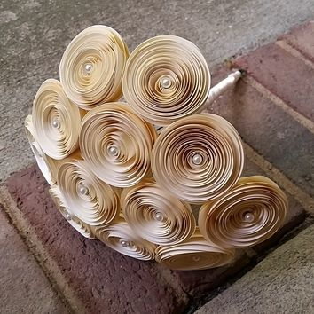 Paper Flower Bouquet - Handmade Ivory and Pearl Paper Flower Bridal Bouquet - Perfect for weddings, brides, bridesmaids