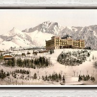 Vintage Photo of Grand-Hôtel de Caux, Montreux,, Switzerland 1895