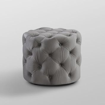 Jaime Velvet or Linen Ottoman - Allover Tufted, Round, 1 PC | Overstock.com Shopping - The Best Deals on Ottomans