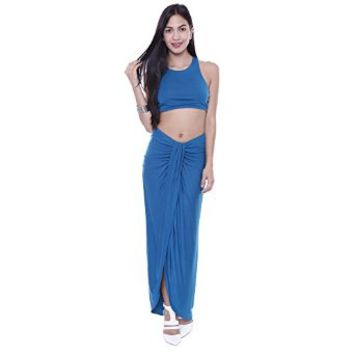 7445D Asymmetrical Draped Midi Skirt With Slip And Crop Top Junior's Clothing