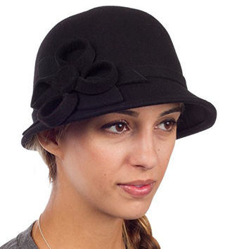 Sakkas 0121LC - Womens Vintage Style 100% Wool Cloche Bucket Winter Hat with Ribbon Flower Accent - Black/One Size