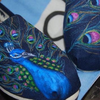 Peacock TOMS by ShoeDesignsByAllison on Etsy
