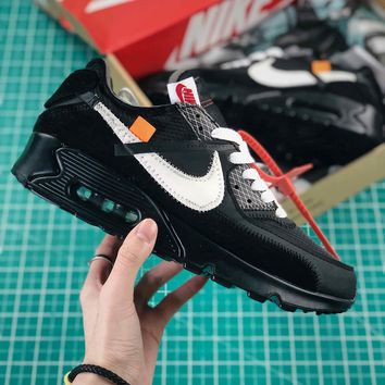 Off White X Nike Air Max 90 Black Sport Running Shoes - Best Online Sale