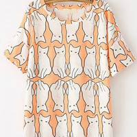 Orange Short Sleeve Ripped Cat Print T-Shirt